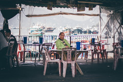 A nice day to chill (]vincent[) Tags: hk hong kong cheung chau vincent portrait people girl ginger emma sony rx 100 mk iv beautiful beer boat bicycle fish shrimp dryed food asia china