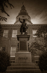 Maryland State House & Kalb statue (cmfgu) Tags: annapolis maryland md annearundelcounty capital city marylandstatehouse capitol government nationalhistoriclandmark history baronjohanndekalb statue monument sculpture hdr highdynamicrange sepia monochrome