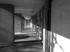 Elegant lines (R o m a n H) Tags: blackandwhite bw corridor silhouette vanishing point