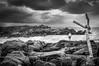 Moody Kovalam Sky (gecko47) Tags: rocks beach lighthousebeach kovalam kerala trivandrum thiruvananthapuram ropes painters moorings bw monochrome clouds overcast india