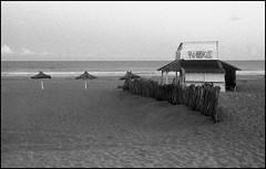 Bar de playa (mavricich) Tags: monocromo monocromático mar summicron argentina agua film fomapan fomadon leica latinoamérica película pinamar playa paisaje mascota nubes nublado naturaleza m3 cielo océano gente arena orilla del en la foto