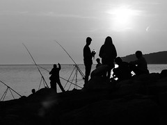 Hot rods (Andy WXx2009) Tags: outdoors people silouhettes seascape seaside shoreline coast landscape fishing men meeting artistic sea seashore creative abstract monochrome blackandwhite llantwitmajor wales europe bristolchannel water sunset beach minamalist figure streetphotography candid