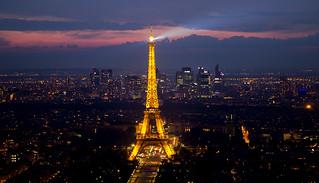 Eiffel Tower at sunset as seen from Tour Montparnasse, Paris