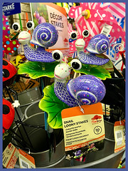Loony Stakes (Julie (thanks for 8 million views)) Tags: snail decorative garden stake eyes beechdalegardencentre snailsaturday wackyweekends hww hss iphonese 2018onephotoeachday wexford ireland irish fun colourful