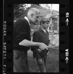 Me with legendary fly-fisher Martin Tolley as he teaches me casting on back yard lawn, May 19 1969 (Blue-yonder) Tags: flyfishing martintolley blakewsmith flycasting