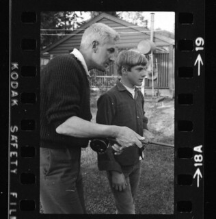 Me with legendary fly-fisher Martin Tolley as he teaches me casting on back yard lawn, May 19 1969