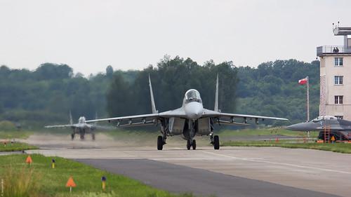 Polish Air Force MiG-29A 38 taxiing to the platform at Malbork AB