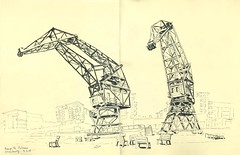 Presqu'île Andre Malraux - Strasbourg (lolo wagner) Tags: usk urbansketchers médiathèque strasbourg croquis sketch grue