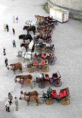 An austrian classy parking lot (Francesco Pesciarelli) Tags: carriages osterreich austria salzburg residenz platz flickr pesha horses parade colors life big downloadable mentionmyname varied collection thoughtful colours