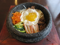 Stone Bibimbab (knightbefore_99) Tags: korea korean asian food awesome kingsway vancouver dooboo bibimbab stone tasty lunch work hot spicy egg meat veggies rice