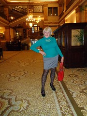 I LOVE Doing This! (Laurette Victoria) Tags: woman laurette blonde purse sweater skirt fencenets patternedhose hotel lobby milwaukee pfisterhotel
