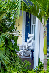 Cozy Key West Porch (Andrea Garza ~) Tags: florida keywest porch frontporch porches floridakeys cottage beachcottage window palm palms palmtree rockingchair chair shutters yellow tropical islandlife usatravel vacation foliage