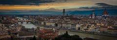 View of Florence from Piazza Michaelangelo 1- (jdl1963) Tags: travel italy florence firenze tuscanny ponte palazzo vecchio cattedrale di santa maria del fiore il duomu twilight dusk night river arno piazza michaelangelo