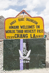 Chang La sign (bag_lady) Tags: ladakh roadsidesign changla mountainpass jammuandkashmir india pangonglakeroad mountain sign