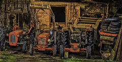 Pit Stop (Laura Drury) Tags: france soueich farm tractor tyres shed rural wheels farmequipment garage tools countryside workshop vintage