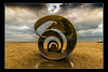 Mary's Shell Cleveleys 4 (Dave.Jasper) Tags: marys shell cleveleys tokina 1116mm sea sand beach nikon d3300 blackpool sculpture 2018 evening lancashire statue surreal cloudscape golden hour shore shoreline water blur line