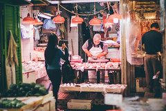 The butcher (]vincent[) Tags: hk hong kong china asia vincent people portrait girl beautiful ginger red head sony rx 100 mk iv canon 50 mm kowloon mongkok market street neon moko