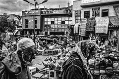 The épices (aliwton) Tags: ifttt 500px commerce street stock fair souq market products spices artisans trade sidewalk pedestrians muslim morocco man woman cafe square africa marrakech leica black white monochrome medina tapestry travel