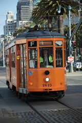 07APR2018-SF-Pier39-IMG_3834 (aaron_anderer) Tags: rail electric train orange sf sfbay bayarea sanfrancisco fishermanswharf pier39 pier 39 2018 california muni fline f line streetcar street car retro classic