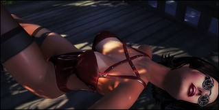 Laying down (with patent dark red bodysuit)