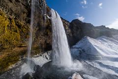Selandjafoss in Iceland (adamrferry) Tags: selandjafoss water waterfall iceland icelandic route1 southiceland south cold winter snow cave rock cliff eyjafjallajökull sky high seljalandsriver river seljalands rocky flow