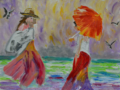 The Way That I Saw It (BKHagar *Kim*) Tags: bkhagar art artwork artday painting paint acrylic impressionist girls sea ocean water umbrella hat