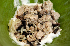 Filling for bánh giò (PlatedPalate) Tags: vietnamese pork filling bananaleaf riceflour plated palate