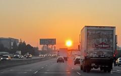 fishy commute ! (Riex) Tags: truck camion thefishmarket commute highway hwy101 california californie traffic trafic circulation autoroute sunrise leverdusoleil aube dawn ciel sky suburbs suburban suburbia sfba s95 canonpowershots95