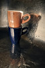 Two Of A Kind: Espresso Light (macplatti) Tags: xt2 xf18mmf2r blue brown espresso sink kitchen metal dishes grunge koblach vorarlberg austria aut
