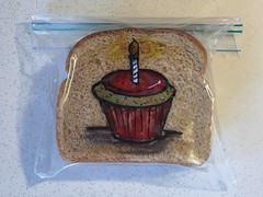 Happy Birthday to all you March babies (D Laferriere) Tags: march red happy birthday candle cupcake attleboro kritzels laferriere sandwich bag art sharpie