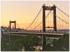 Tamar road bridge evening. (wilstony1) Tags: tamarbridge tamarrivercrossing evening lowlight traffic fujifilm finepix snapseed edit