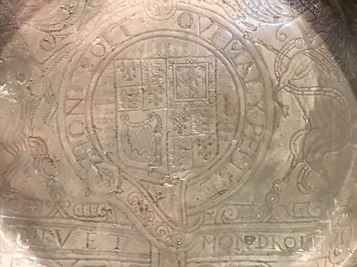 Detail: Commemorative dish, maker unknown; England, c1662; pewter