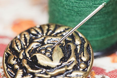 The Brave Little Tailor [Macro Mondays] [Once Upon A Time] (trustypics) Tags: macromondaysonceuponatime grimm macromondays needle onceuponatime thebravelittletailor thread button fairytale tailor macro