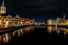 Reflections on the Limmat (T Ironman) Tags: zurich zuerich zurichnight limmat night nghtphotography reflections river city switzerland