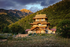 evening glow (andy_8357) Tags: sangdo palri temple tibetan buddhism japanese architecture beautiful glow golden hour roof copper sony a6000 ilcenex 6000 mirrorless e pz 1650mm oss sel1650 magnificent wide angle sangre de cristo mountain landscape paysage trees pine juniper flowers wild clouds peaceful dzigar kongtrul rinpoche teacher pema chodron samten ling calm peace reconciliation tolerance compassion wisdom heart enlightenment stunning adams peak mount colorado san luis valley breathtaking breath taking gentle crags rock crestone saguache emount