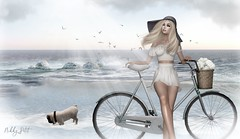 Kairosclerosis (Nikky-May) Tags: maitreya lelutka mesh people me secondlife female new digital flickr sl spring summer sun light beach sea water sky pug dog flowers white blue bike bicycle seagul birds happy outdoor march pure morning