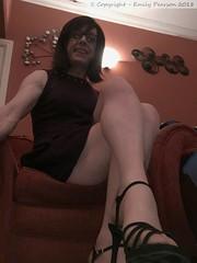 February 2018 - purple dress (Girly Emily) Tags: crossdresser cd tv tvchix trans transvestite transsexual tgirl tgirls convincing feminine girly cute pretty sexy transgender boytogirl mtf maletofemale xdresser gurl glasses dress tights hose hosiery highheels indoor stilettos