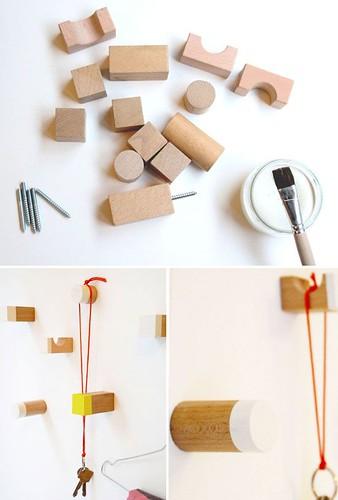 Diy Home : diy: wooden toy blocks as hooks