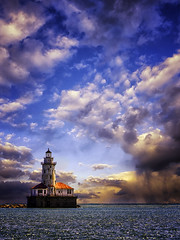 Chicago Harbor Lighthouse (patkelley3) Tags: sunset clouds sky lighthouse light lake water horizon