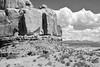 Near and Far (NaturalLight) Tags: rock clouds lasalmountains archesnationalpark utah monochrome bw