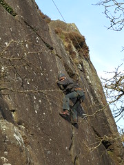 first time climbing outdoors (squeezemonkey) Tags: northwales snowdonia winter castlestafftrip tremadog tradclimbing climbing outdoors climbers doleriterock toproping craigpantifan uppertier crag