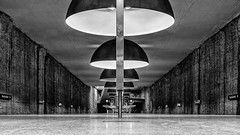 Westfriedhof (Leipzig_trifft_Wien) Tags: perspective black white monochrome underground metro symmetrical architecture urban city low pov contrast grey