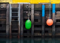 Wharf (Karen_Chappell) Tags: wharf stjohns fortamherst buoy wood wooden paint painted yellow green orange blue brown newfoundland nfld steps dock pier canada atlanticcanada harbour avalonpeninsula eastcoast buoyant
