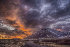 Borgarnes Sunrise (Steven Olmstead) Tags: sunrise mountains clouds cloudscape road iceland