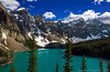 Moraine Lake, Banff National Park, Alberta (Jenniferhg97) Tags: moraine lake canadianrockies canada valley ten peaks snow blue alberta travelalberta banff national park canadian rockies clouds water trees mountains canonphotography canon travel landscape
