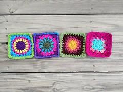 Four rehabbed crochet squares (crochetbug13) Tags: crochetbug crochet crocheted crocheting crochetsquares grannysquares usewhatyouhave wastenotwantnot crochetflowers crochetcircles