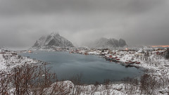 Rainy day, flow away (Mika Laitinen) Tags: canon5dmarkiv europe lofoten norway norwegiansea reine scandinavia cloud cold landscape longexposure mountain nature sea shore sky snow storm water winter nordland no