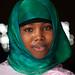 Portrait of a somali woman in green hijab, North-Western province, Berbera, Somaliland