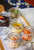 Tapas assortment with white wine (kashmirhare) Tags: white wine green tapas assortment starters pate salmon hummus tuna chicken liver onion confit