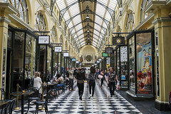 Melbourne Royal Arcade (syf22) Tags: australia aussie oz downunder melbourne cbd centralbusinessdistrict commercial bust street shopping citycentre shoppingarea citystreet streetscene shops arcade oldfashioned ancient victorian checkers floor pathment walkway path lane display advertisement classifiedad selling goods